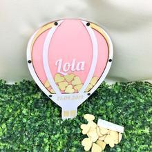 Изготовленный на заказ горячий воздушный шар причастие День рождения знак-память упаковочная коробка, альтернатива книги для крещения, ребенок душ пожелания упаковочная коробка Топы