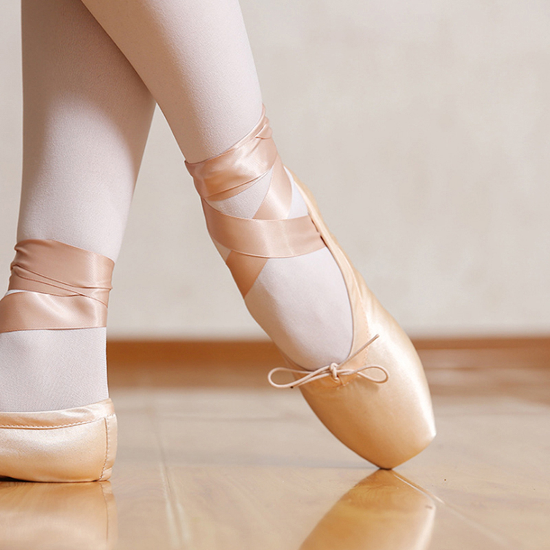 Satin Upper With Ribbon Girls Women's Pink Professional Ballet Shoes Dancing Shoes With Toe Pads