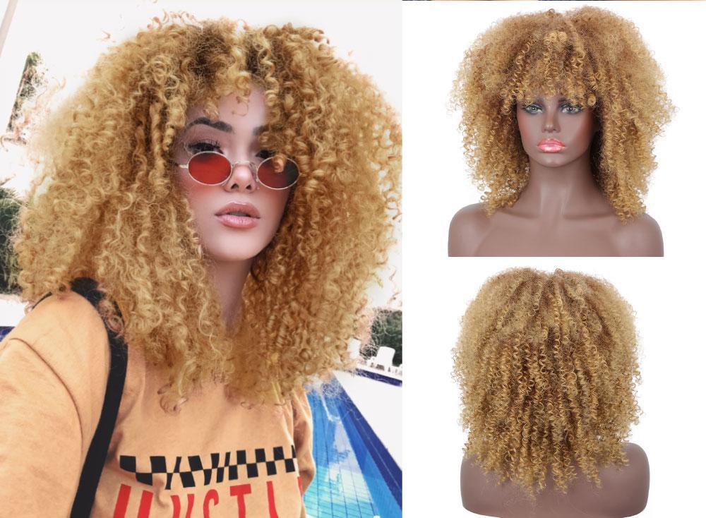 Nnzes curto afro encaracolado perucas sintéticas naturais