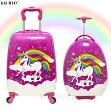 16''18 cala ABS dzieci walizka na kółkach bagaż na kółkach torba carry on walizka kabina pokrowiec na wózek rolling bagaż Cute cartoon