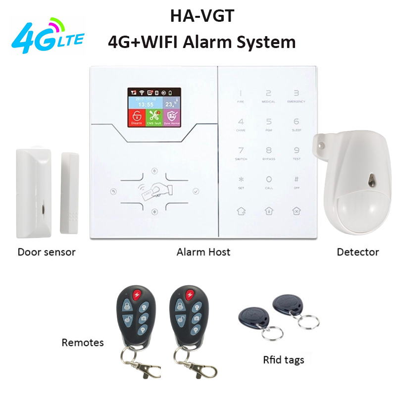 HA-VGT 4G WIFI Alarm System Home Burglar Intruder APP Control SMS Alert 4G Apartment House Security Alarm