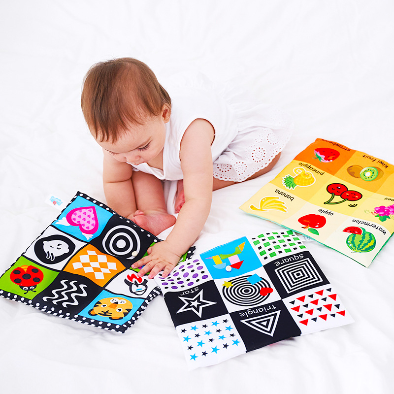 Newborn Cartoon Book Toys 2 Side Pattern Soft Cloth Book Kids Learning Educational Black/White Cognition Rustle Sound Newspaper