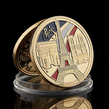 1889 France Paris Landmark Tower triumphal Arch 100th Anniversary of the French Revolution Gold Plated Coin Value Collectibles anniversary of the people s revolution mongolia gifts