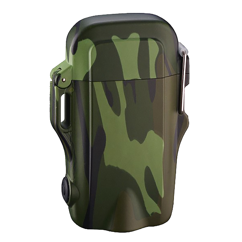 Outdoor Camping Hiking Waterproof Windproof USB Rechargeable Electric Lighter Led Lights With Lanyard(Camouflage)