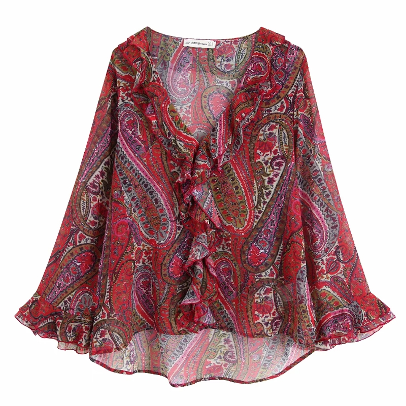 Frauen vintage V neck cascading rüschen paisley floral print chiffon bluse damen cashew muttern chic shirts femininas tops LS4328