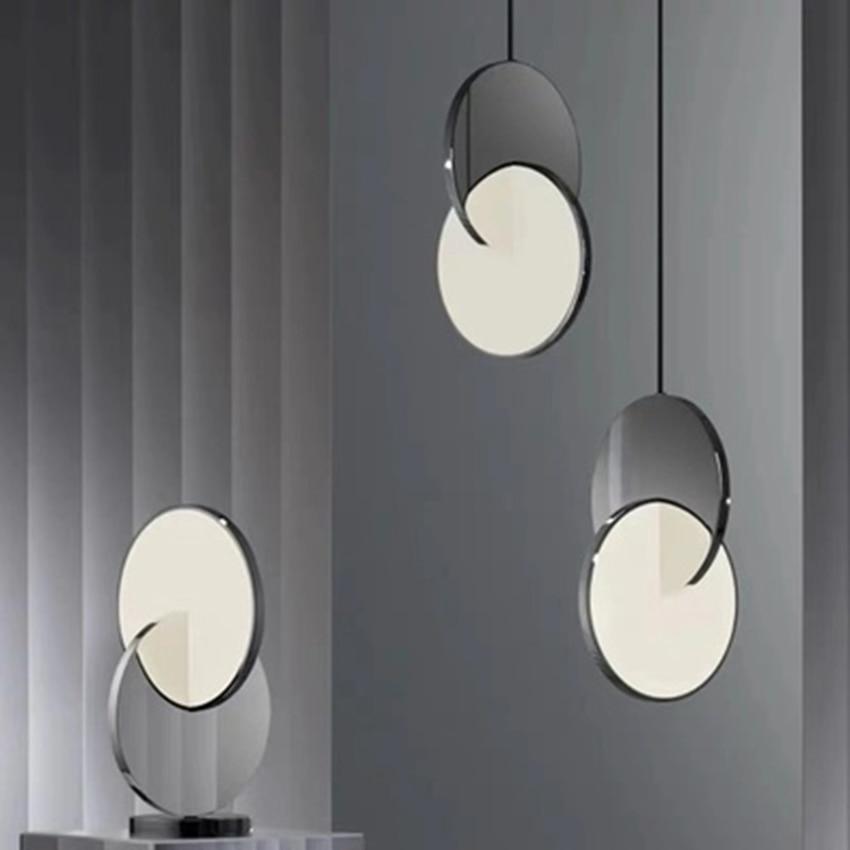 Modern LED Mirror Round Pendant Lights Lighting Nordic Cafe Loft  Living Room Lamp Restaurant Bedroom Combination Light Fixtures