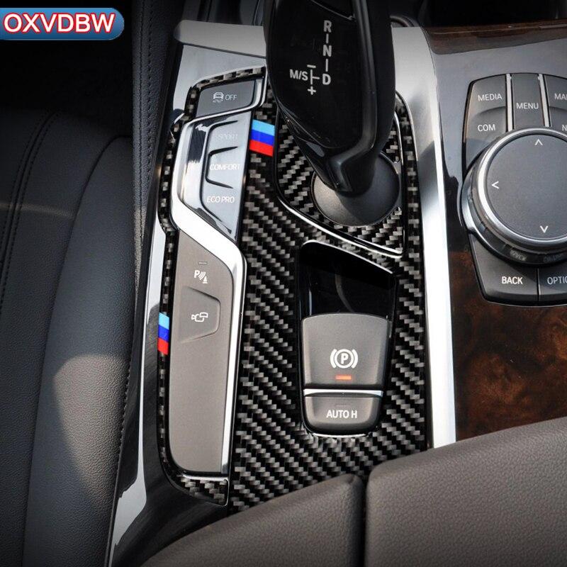 For BMW 5 Series G30 Carbon Fiber Car Center Control Gear Shift Panel Decorative Sticker Interior Trim LHD RHD Accessories