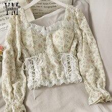 YornMona Ins – chemise à manches longues pour femme, chemisiers en maille, imprimé Floral, Vintage, à la mode