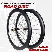 Elitewheels 700c Novatec D411 Arbon Fiets Wielset Road Disc Carbon 6-Bolt Of Center Lock Clincher Tubular Tubeless Fiets wiel