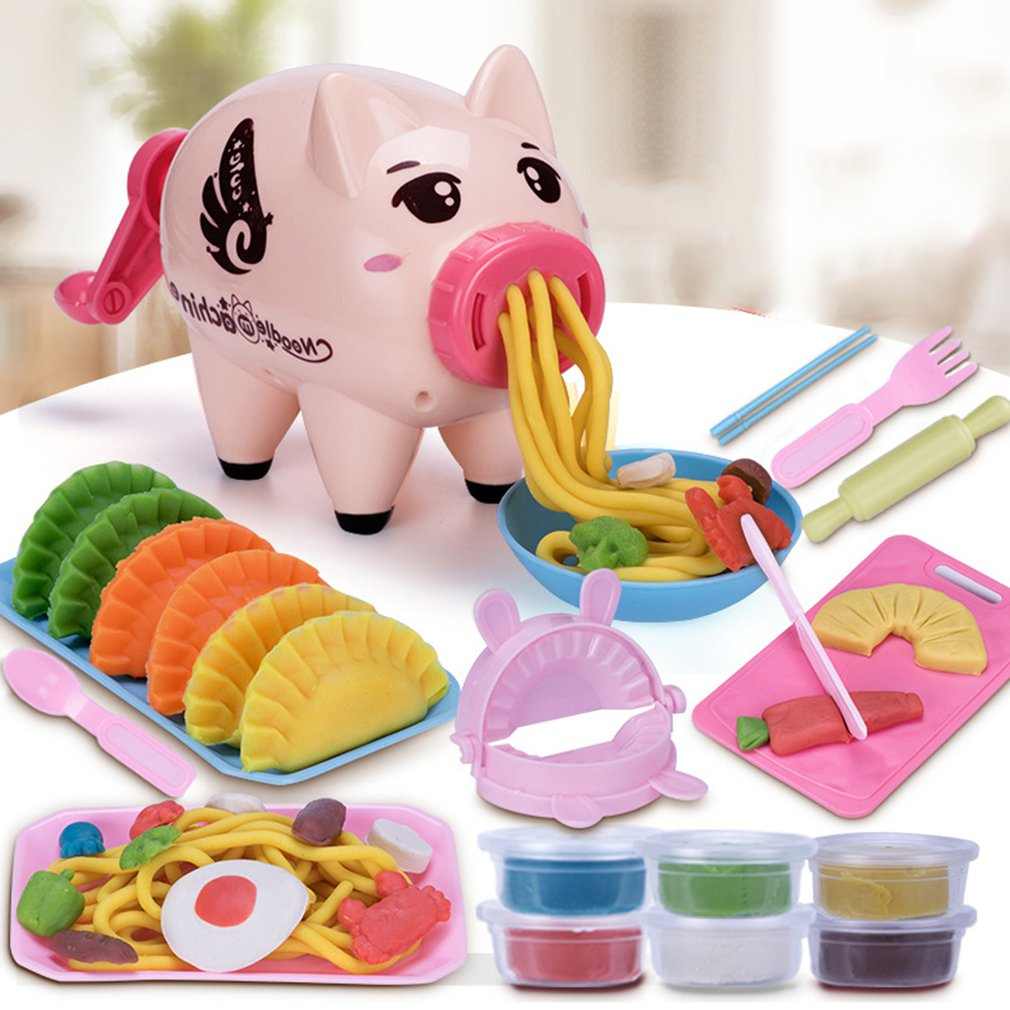 Girls Pretend Play Educational Toy Kids Funny Pig/Cow Noodle Machine Color Clay Kitchen Toy DIY Simulation Play House Toys Gift