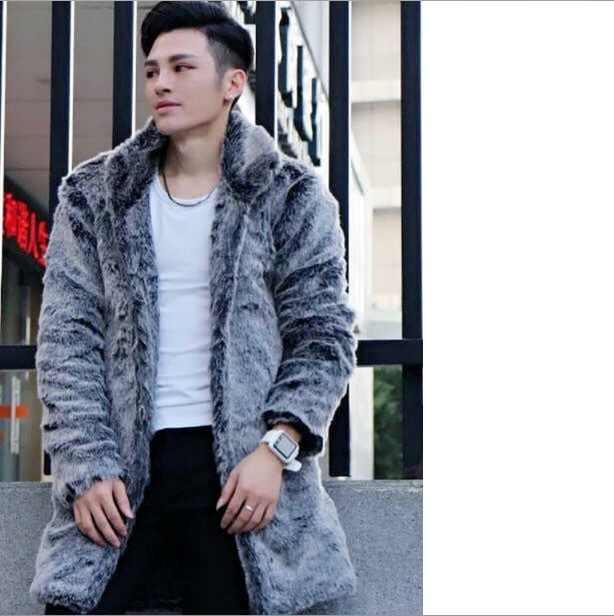 2019 degli uomini di Inverno Gira-giù il Collare Del Faux Pelliccia di Visone Cappotto Giacca A Maniche Lunghe Addensare Pelliccia Tuta Sportiva Più Il Formato lungo Cappotto XL680
