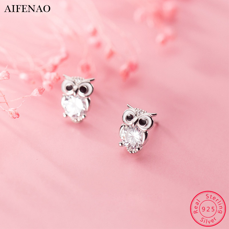 Cute Pink Owl Studs Earrings Colorful Girls Sterling Silver 925