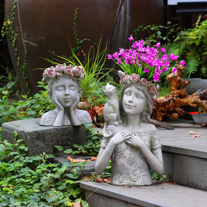 Home Decor Accessories Courtyard A Cat Stands Opposite The Girl On The Shoulder Of The Girl Statue Garden Sculpture Flower Pot