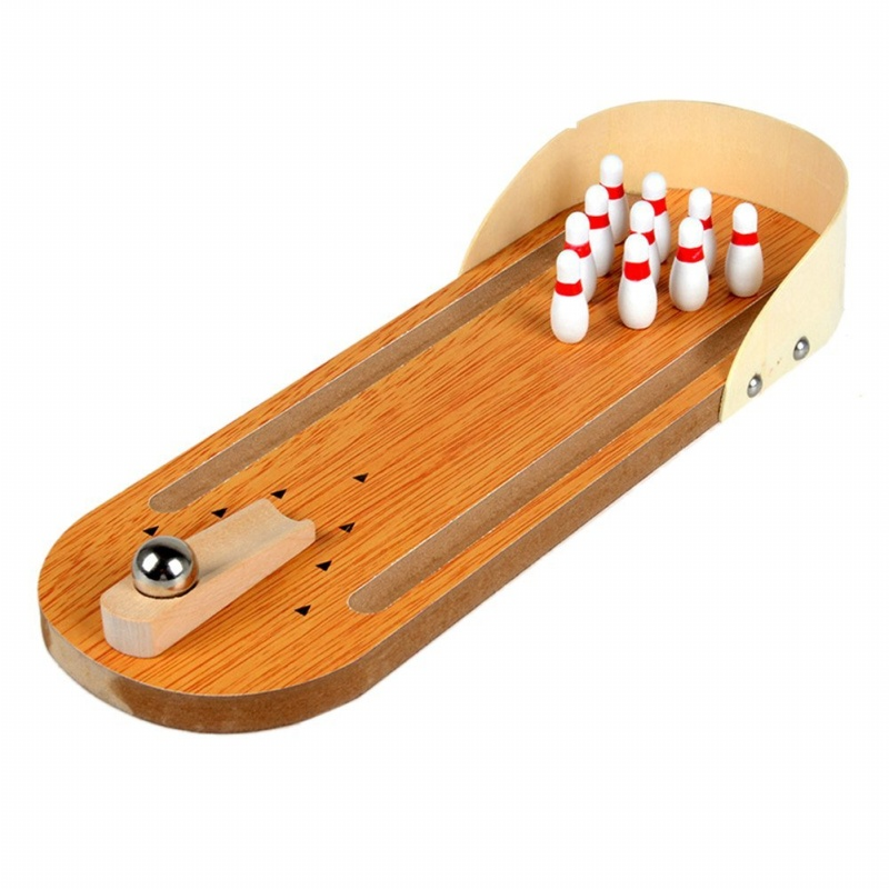 Mini Desktop Bowling Game Set Wooden Bowling Alley Ten Metal Pin Ball Desk