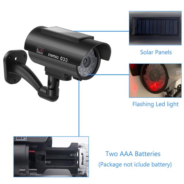 Fake Camera Solar Power Outdoor Simulation Dummy Camera Waterproof Security CCTV Surveillance Bullet With Flashing LED Light 5