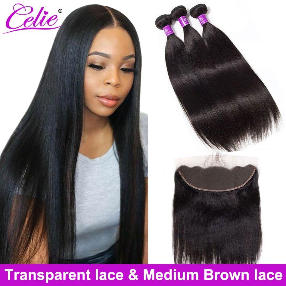 Celie cheveux raides paquets avec Frontal 3 paquets avec fermeture paquets de cheveux humains avec frontale HD dentelle frontale et faisceaux