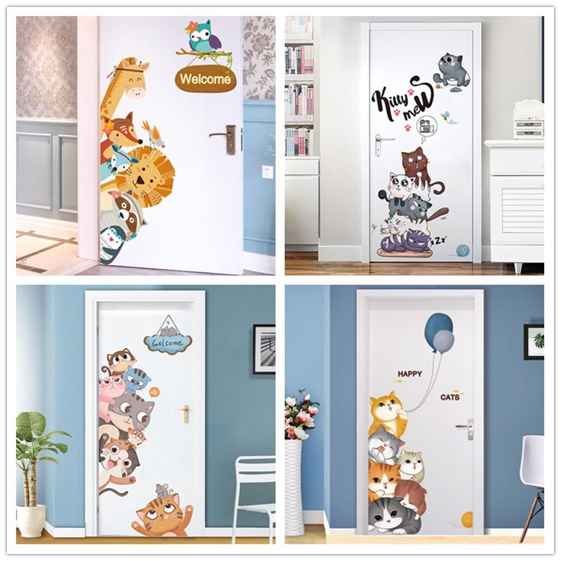 [shijuekongjian] Animal Wall Decals Vinyl DIY Cartoon Home Decor Sticker for Kids Room Baby Bedroom Door Decoration