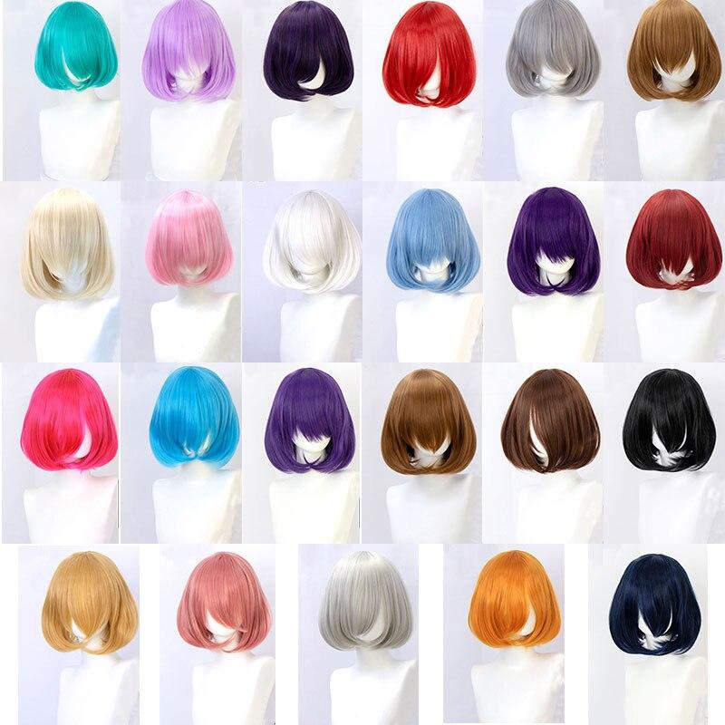 Cabelo sintético curto ondulado bob perucas com