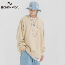 Bonita Vida Harajuku Japanese Style Oversize Hoodies Men 2019 Hip Hop Cotton Solid Pullover Sweatshirt  Streetwear