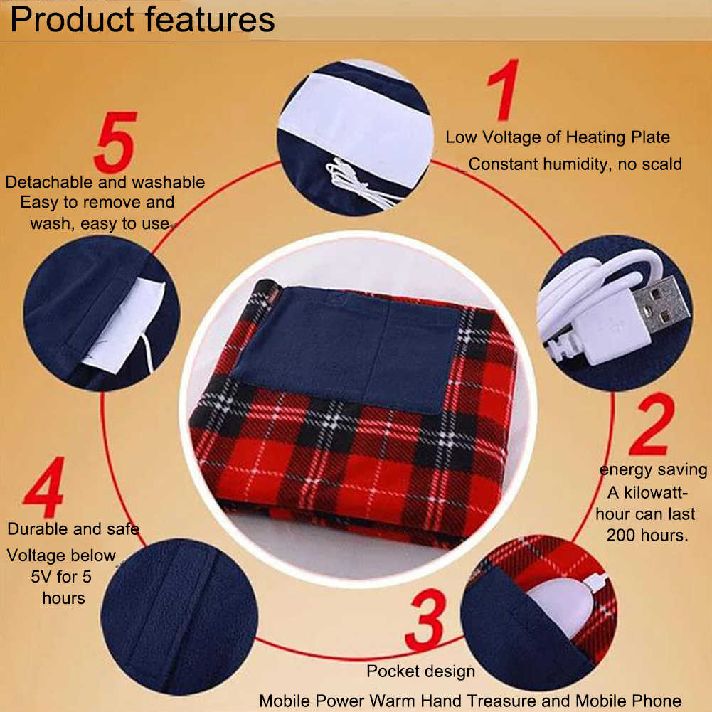 880x650mm USB Rechargeable Electric Heating Blanket Kneepad with Pocket Popular