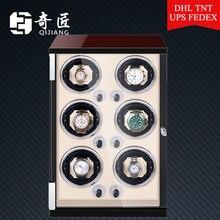 Relógio de madeira automático dobadoura caixa acessórios exibição mecânica relógio rotativo para homem 6slot
