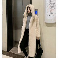 Women Imitation Mink Fur Long Coat New Autumn Winter Solid Hooded Coats With Fur Trim Hood Warm Thicken Outwear