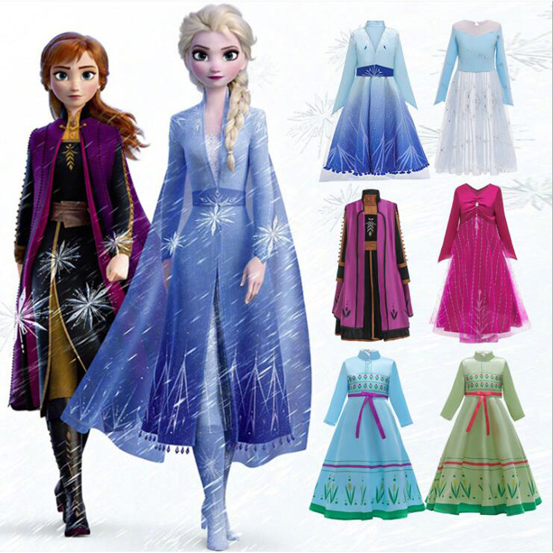 Anna Elsa Teens Girl Dream Unicorn Dress Costume Child Kid Birthday Party Dress Girl Formal Prom Girls Princess Dress+ Headdress