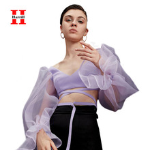Summer Mesh Lantern Sleeve Blouses Women Sexy V-Neck Backless Short Tops Women Bow Lace Up Blouse Woman Clothes Streetwear Top lantern sleeve tied neck blouse