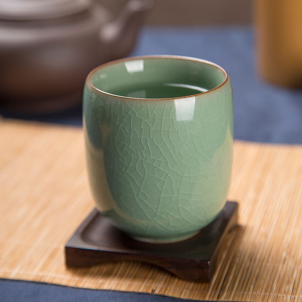 [GRANDNESS] Longquan Celadon Tea Cup Longquan Celadon Teacup Japanese Q Office Glass Ceramic Cup Glass Tea Cup 160ml