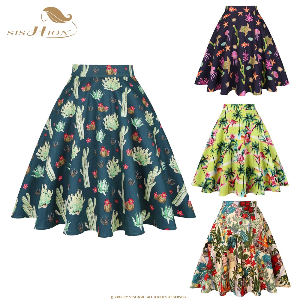 SISHION Black Summer Skirt High Waist Plus Size Floral Print Polka Dot Ladies Plaid Women Skirt Swing Vintage Skirts Womens