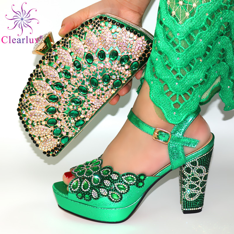 High Quality Green Color African Designer Shoes And Bag Set To Match Italian Party Shoes With Matching Bags Set FREE SHIPPING