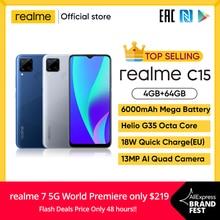 realme C15 Global Version Smartphone 4GB RAM 64GB ROM 6000mAh Big Battery Quick Charge Mobile phone 6.5inch Redmi Telephone