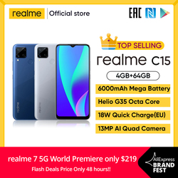 realme C15 Global Version Smartphone 4GB RAM 64GB ROM 6000mAh Big Battery Quick Charge Mobile phone 6.5inch Redmi Telephone
