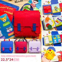 New DIY Quiet Book Kid's Early Education Book Bag 2 in 1 Felt Picture Book Mom Sewing Craft Kits Baby Toys My First Book