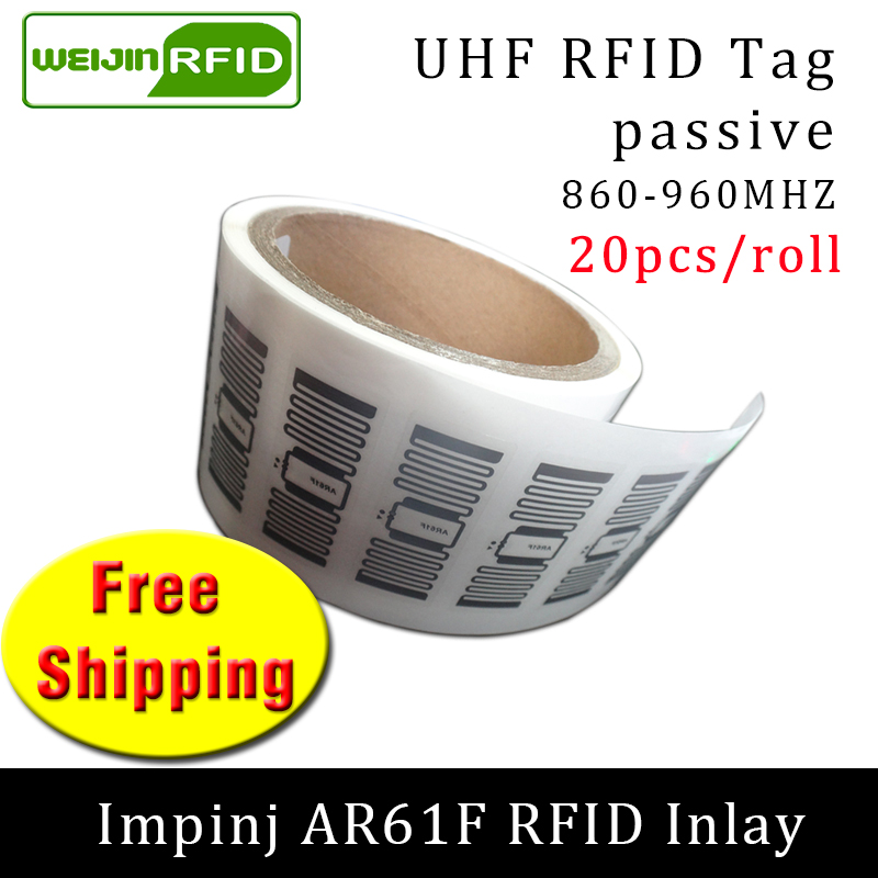 UHF Wet Inlay Sticker RFID Tag Impinj MonzaR6 AR61F 915M 860-960Mhz EPC 6C 20pcs Free Shipping Self-adhesive Passive RFID Label