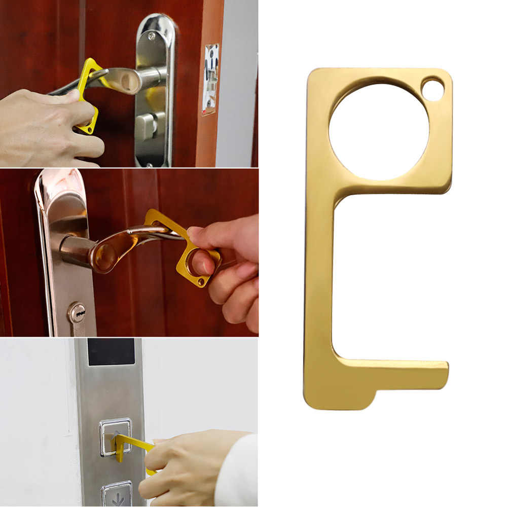 Temassız güvenlik kapı açacağı temassız EDC kapı açıcı güvenlik koruma İzolasyonu pirinç renk anahtar kapı kolları temiz anahtar