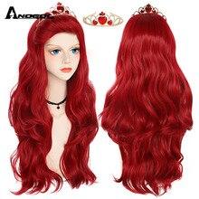 Anogol Mermaid Little Wigs Body Wave Wavy Princess Ariel Cosplay Wig Heat Resistant Synthetic Hair Costume Wigs + Wig Cap