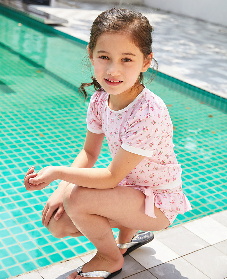2020 New Style KID'S Swimwear Big Boy Pink Floral-Print T-shirt Cute GIRL'S Split Type Hot Springs Swimwear