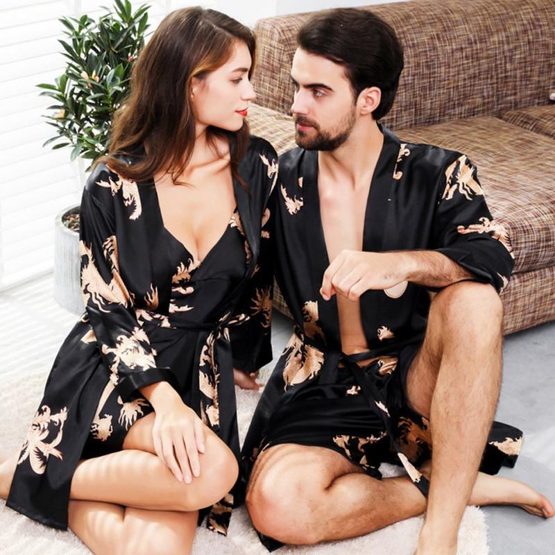 Couple Silk Robes 5XL Sleepwear Women Soft Bathrobe Oversized Satin Kimono Masculino Nightgown Man Home Clothing Peignoir Homme