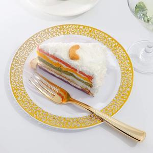 Image 5 - Gold Disposable Plastic Plates  Lace Design Wedding Party Plastic Plates,Gold Lace Plates Salad/Dessert Plates 25pack