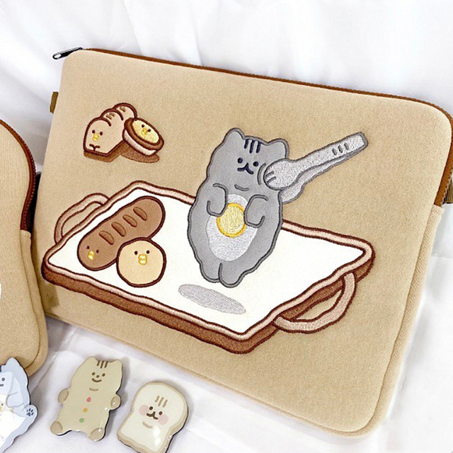 Tablet case laptop storage bag For Mac Ipad pro 9.7 11 13inch Cartoon toast cat sleeve liner bag student girls Case 3