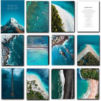 Playa con vista al Océano Azul sala de estar dormitorio decoración de entrada pintura cuadro moderno pared artística lienzo cartel motivacional