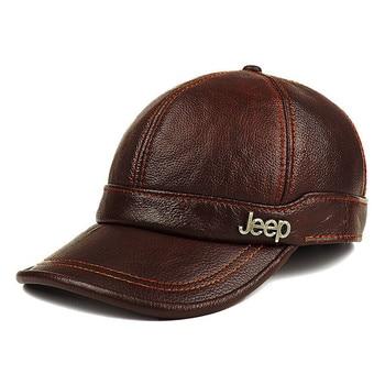 Adulto nuevo genuino sombrero de cuero de los hombres de Gorra de béisbol de cuero Hombre de invierno al aire libre de gorra con protección de oídos sombrero de cuero B-8385