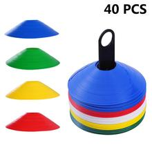 40 Piece Set Soccer Cones Disc Field Cone Markers For Agility Training Football For Kid Suitable For Football Training Equipment недорого