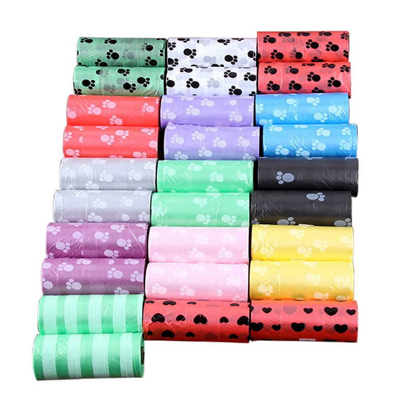 10 Rolls Paw Printing Dog Poop Bag  15 Bags/ Roll Large Cat Waste Bags Doggie Outdoor Home Clean Refill Garbage Bag