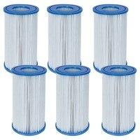 6 pces piscina filtro fácil de substituir o tipo a ou tipo c filtro cartucho de substituição piscina filtro cartucho para piscina diariamente