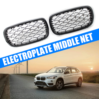 Glossy Black Front Hood Kidney Grille Grill ABS Dual Line Compatible for BMW X5 F15 2014-2016 Front Bumper Grille image