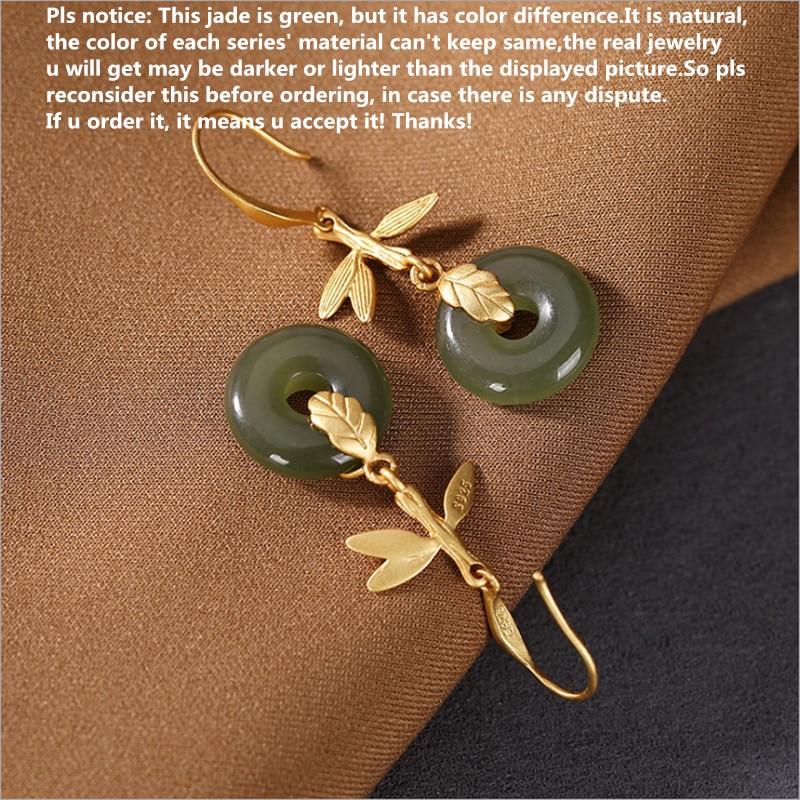 Uglyless Gold 925 Silver Leaves Earrings for Women Natural Jade Agate Buckles Dangle Earrings Luxury Party Dress Brincos Bijoux