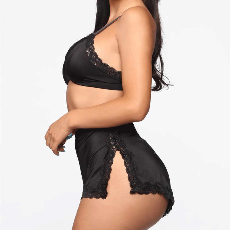 Vrouwen Sexy Kant Diepe V-hals Lingerie Set Kanten Beha Crop Tops Hoge Taille Split Shorts Set Babydoll Nachtkleding Nachtkleding ondergoed