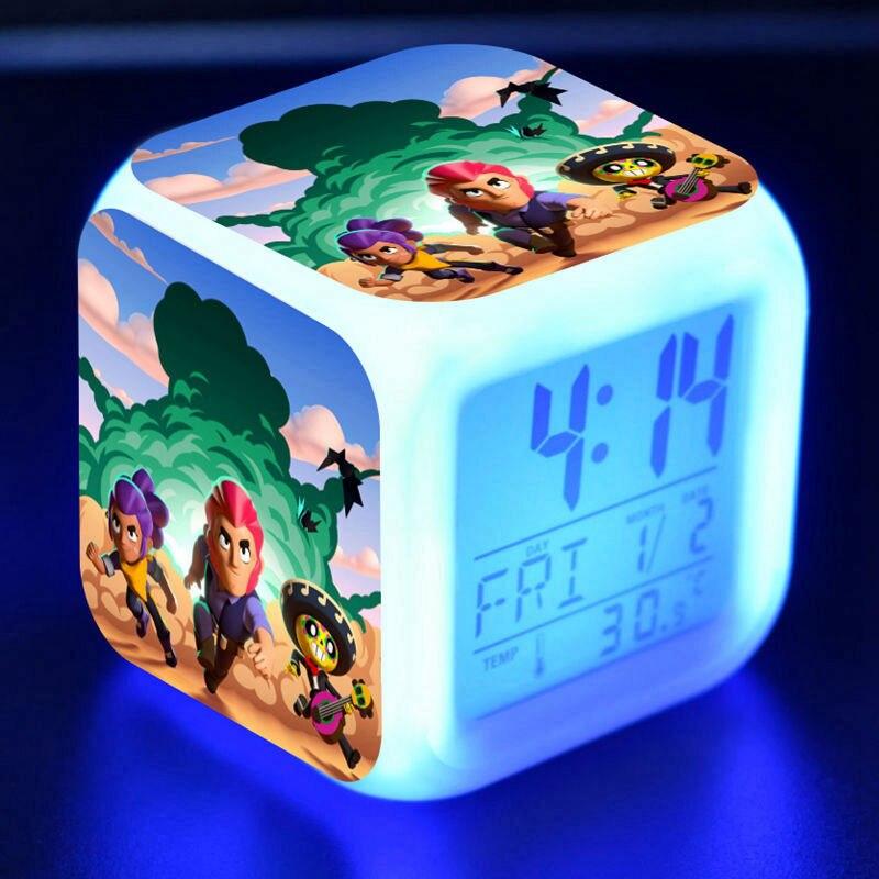 Browl Leon Figure Model LED Alarm CLock Colorful Flash Touch Light Temperature Game Figuras Kids Toys